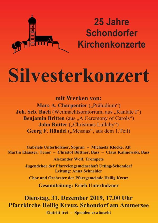 Herzliche Einladung zum Schondorfer Silvesterkonzert am 31.12.2019 um 17:00 Uhr in Heilig Kreuz, Schondorf!